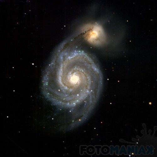 Galaktyki M51 oraz NGC5195 (źródło: Pan-STARRS Uniwersity of Hawai'i)