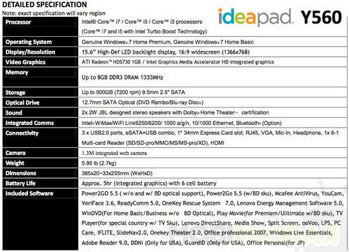 lenovo-ideapad-y560-specifications