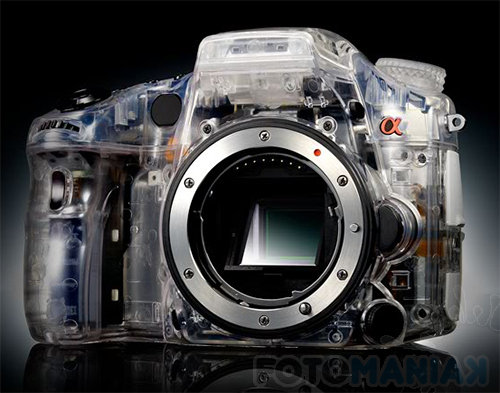 Model koncepcyjny nowego aparatu opartego o półprzepuszczalne lustro (za sony.jp)