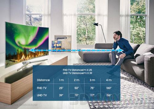 Przekątna ekranu i odległość od telewizora wg Samsunga / fot. prod.