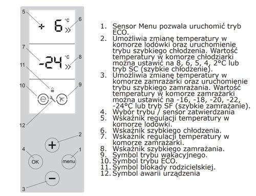 Funkcjedotykowego wyświetlacza w lodówce Amica FK3556.4GBDF / fot. Amica