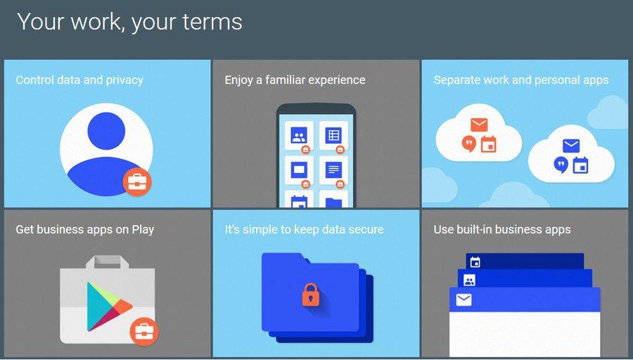 Główne zasady programu Android for Work / fot. Google