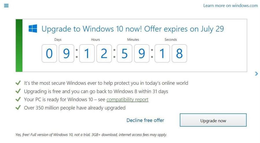 Odliczanie do końca darmowego Windows 10 / fot. Neowin
