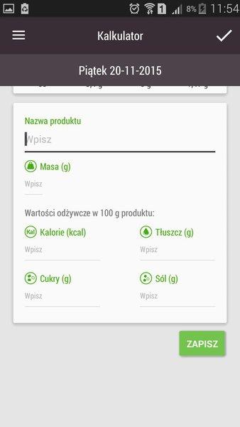 Asystent Zdrowego Żywienia_kalkulator