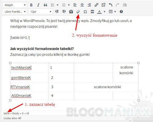 Jak wyczyścić formatowanie tabeli w WordPress?