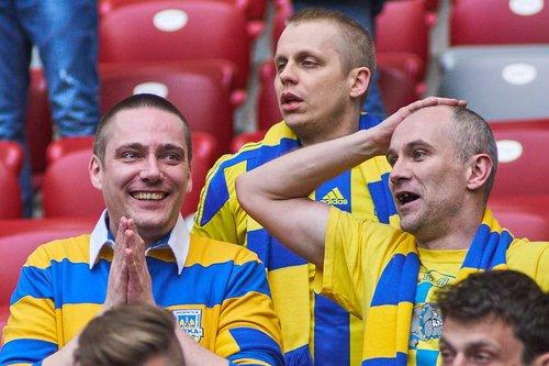 Kibice Arki Gdynia nie mogli uwierzyć, że ich ekipa prowadzi 2:0 w finale Pucharu Polski /fot. fotoManiaK