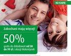 50% doładowania doładowanie na Walentynki oferta na kartę Plus na Kartę promocja za doładowanie walentynki