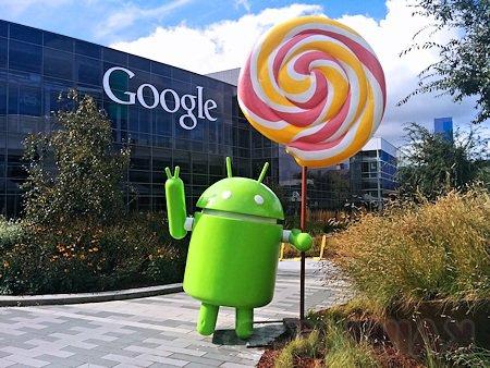 Figurka Android Lollipop przed siedzibą Google