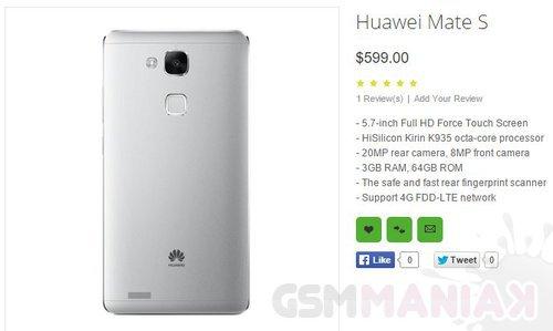 Huawei Mate S bez tajemnic. Ekran z technologią Force ...