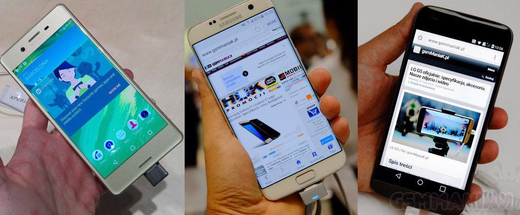LG G5, Samsung Galaxy S7 i Sony Xperia X