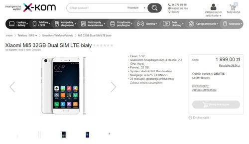 Xiaomi Mi5 x-kom