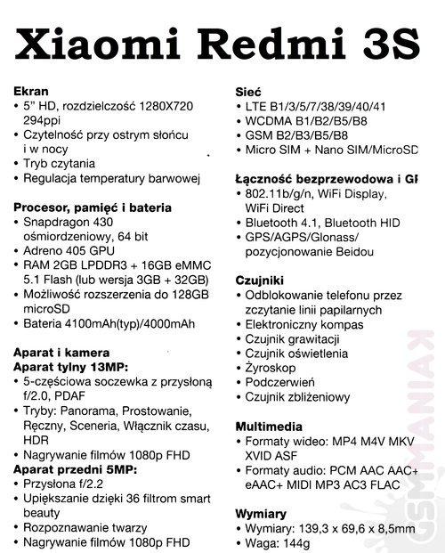 Xiaomi Rdmi 3S_specyfikacja