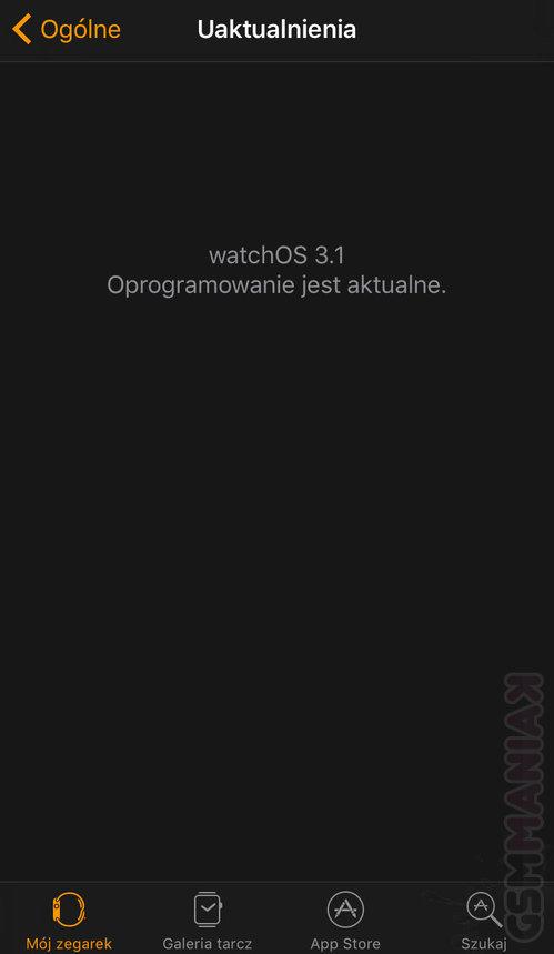 Brak aktualizacji do watchOS 3.1.1