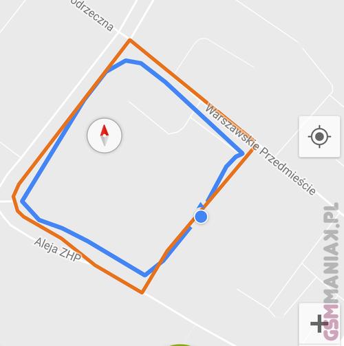 Niebieski - smartfon Pomarańczowy - wyznaczona trasa