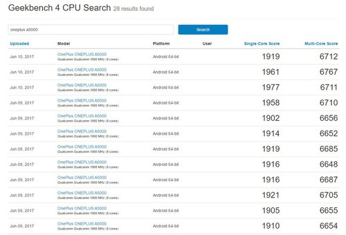 OnePlus 5 ze Snapdragonem 835 w GeekBench