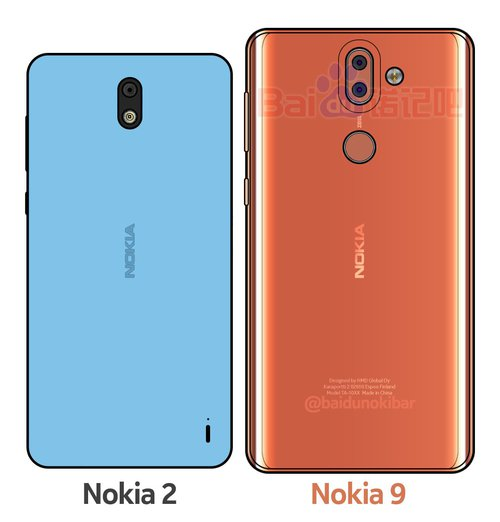 Nokia 9 w towarzystwie Nokii 2 / fot. Baidu