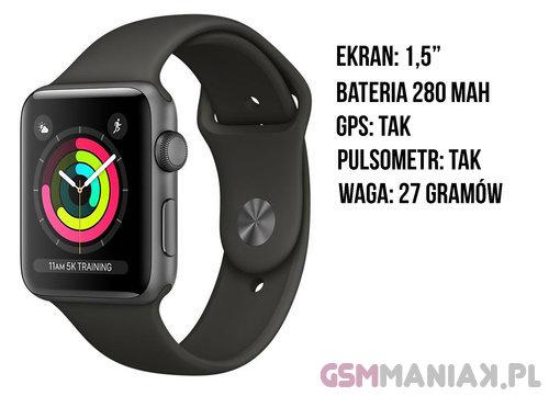 Specyfikacja Apple Watch 3 38