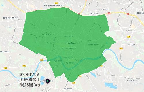 Strefa Uber Eats w Krakowie (02.2018)