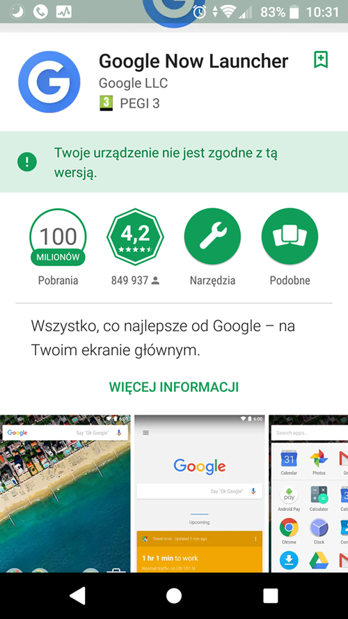 Zrzut ekranu prezentujący Google Now launcher w Sklepie Play.