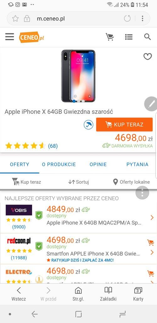 Ceny iPhone X/ zrzut ekranu Ceneo