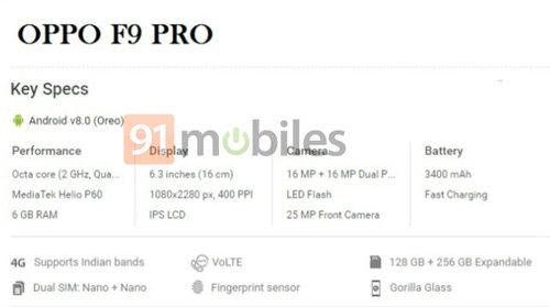 Przewidywana specyfikacja OPPO F9 PRO / fot. 91mobiles