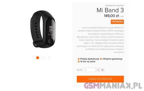 Xiaomi Mi Band 3 cena