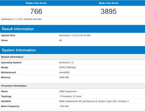 Specyfikacja Oppo A7/fot. Geekbench
