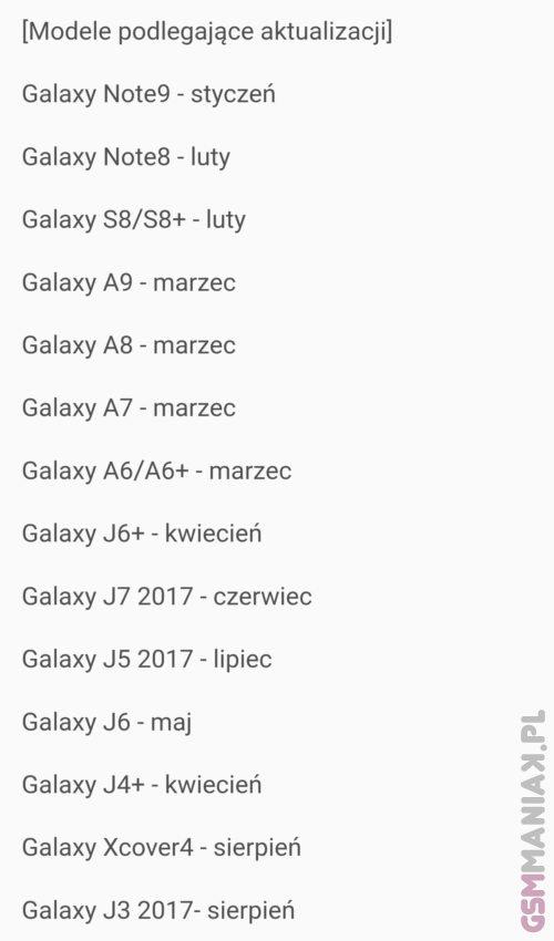 Samsung pie lista