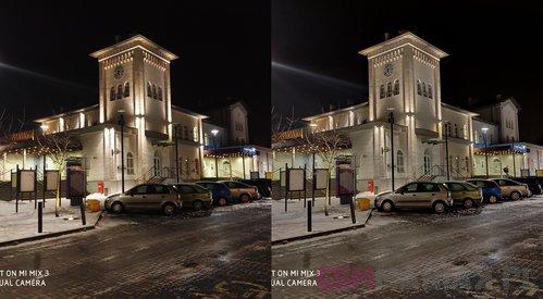 Zdjęcie normalne po lewej, z trybem nocnym po prawej / fot. gsmManiaK