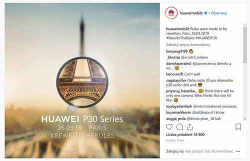Fot. Huawei Mobile na Instagramie
