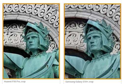 Porównanie detali (P30 Pro/S10+) / fot. DxOMark