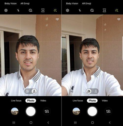 Różnica w polu widzenia aparatu selfie / Fot. Sammobile