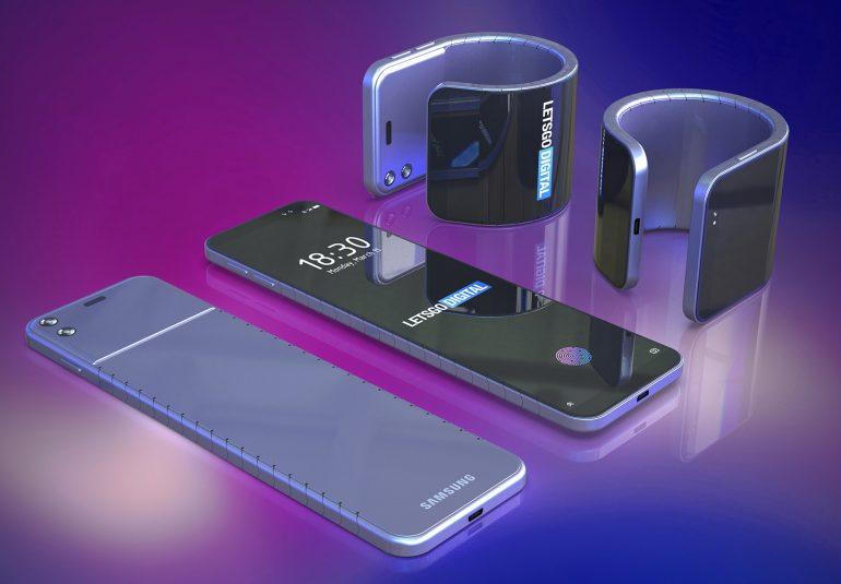 Samsung opatentował też elastyczny telefon / fot. LetsGoDigital