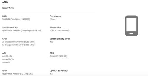 Samsung Galaxy A70s/fot. gizmochina