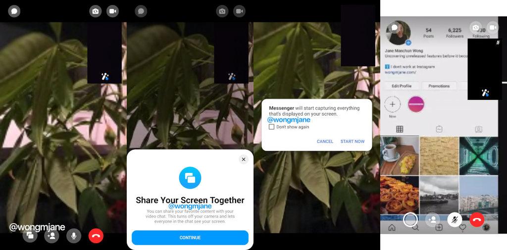 Udostępnianie ekranu Messenger