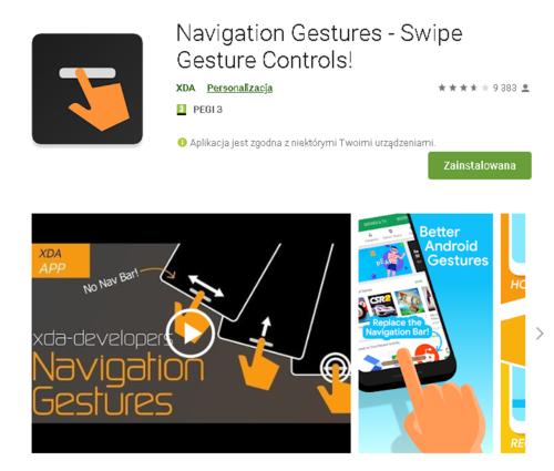 Navigation Gestures //źródło: Google Play;