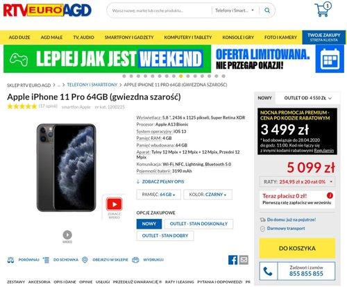 Promocyjna cena iPhone'a 11 Pro w RTV Euro AGD