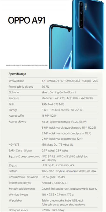 Specyfikacja OPPO A91