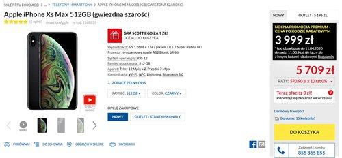 Cena iPhone'a XS Max w RTV Euro AGD