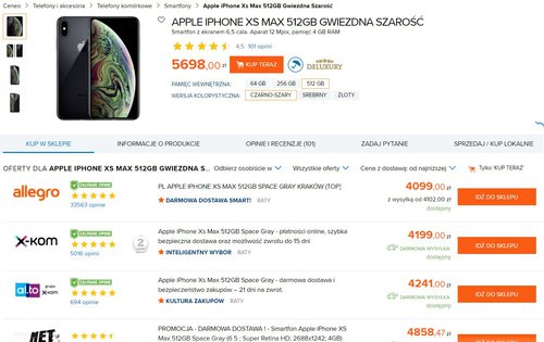 Polskie oferty na iPhone'a XS Max