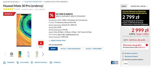 Promocyjna cena Huawei Mate 30 Pro w RTV Euro AGD