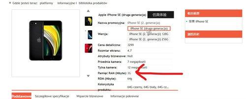 iPhone SE 2020 ma 3 GB RAM