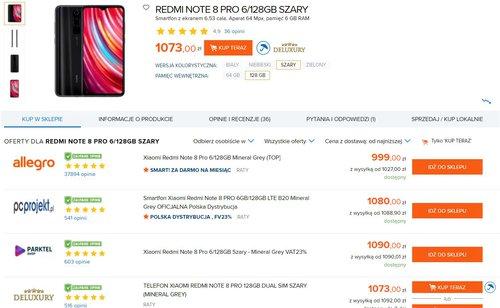 Ceny Redmi Note 8 Pro w polskich sklepach / fot. Ceneo