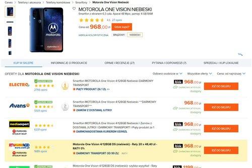 Ceny Motoroli One Vision w polskich sklepach