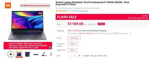 Promocja na Xiaomi Mi Notebook Pro Enhanced Edition/fot. GearBest