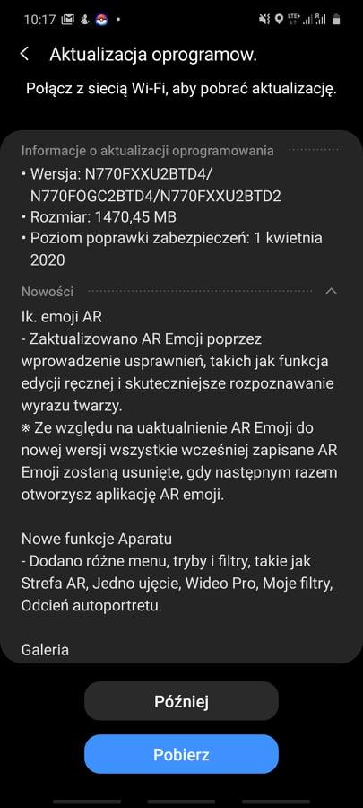 Nowa aktualizacja Samsunga Galaxy Note 10 Lite z OneUI 2.1/fot. gsmManiaK.pl