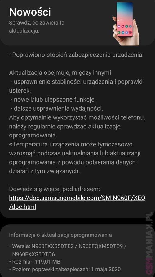 Nowa aktualizacja dla Galaxy Note 9