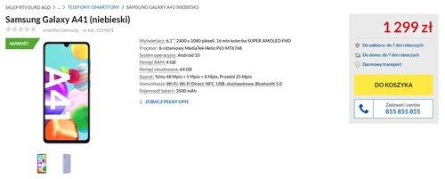 Cena Samsunga Galaxy A41 w RTV Euro AGD i zarazem w Polsce