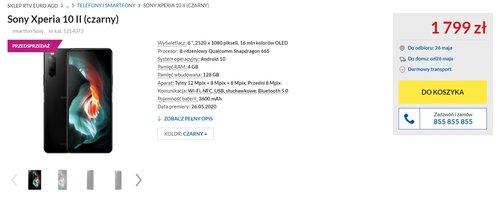 Sony Xperia 1 II - cena w Polsce