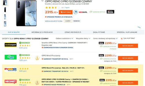 Ceny OPPO Reno 3 Pro w polskich sklepach (Ceneo)
